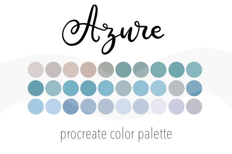 Azure color palette for Procreate. 30 Swatches for iPad. example image 1
