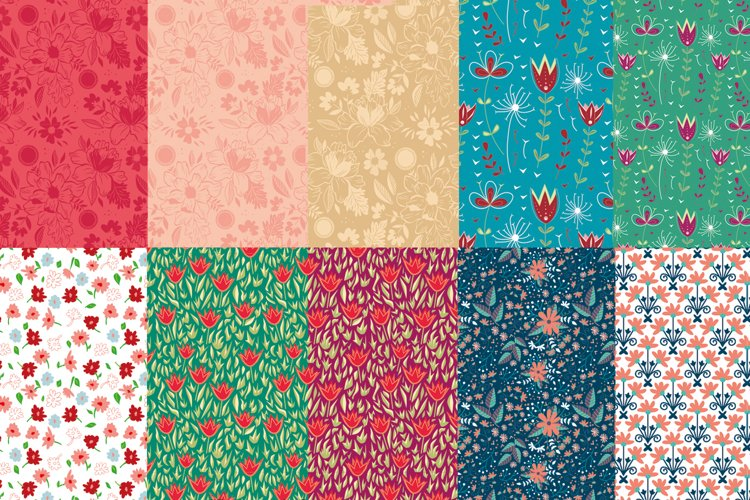 seamless pattern - flowers and ornaments
