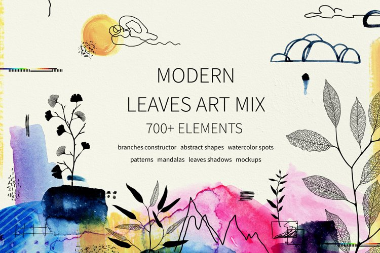 Modern graphic elements. Art leaves example image 1