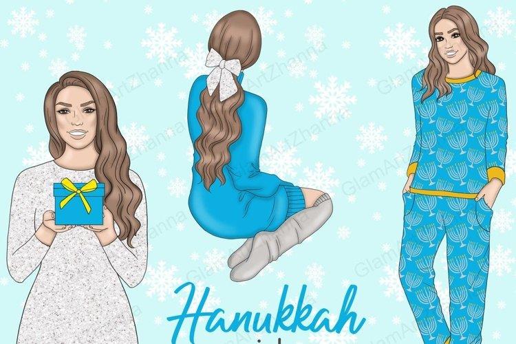 Hanukkah GIRLS Dreidel Menorah Chanukah Holiday Winter - PNG example image 1