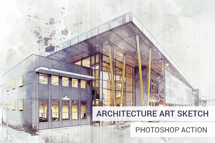 Architecture Sketch Photoshop Action example image 1