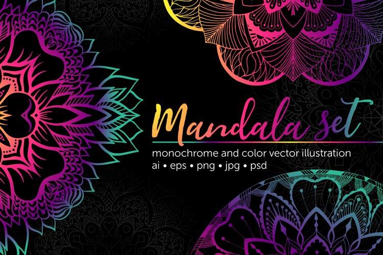 Set of bright vector mandalas example image 1