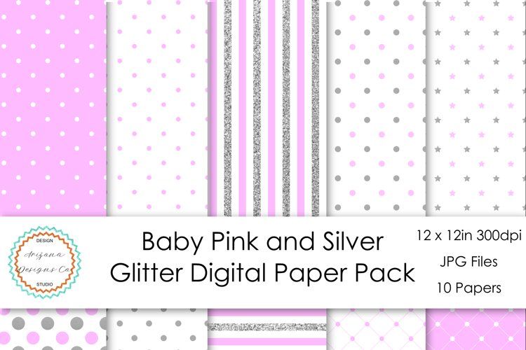 Baby Pink and Silver Glitter Digital Paper Pack example image 1