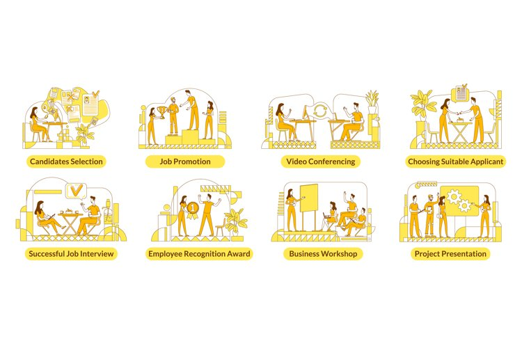 Hiring flat silhouette vector illustrations set example image 1