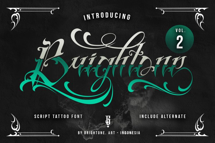 Brightone Vol. 2   Tattoo Lettering Font example image 1