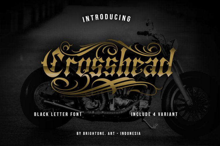 Crosshead - Blackletter Tattoo Font example image 1