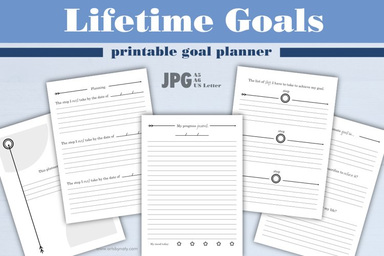Lifetime goals   printable goal planner. example image 1