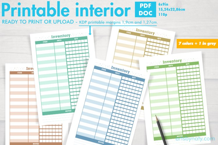 Set of inventory KDP notebooks in 7 colors and 1 in grey. example image 1