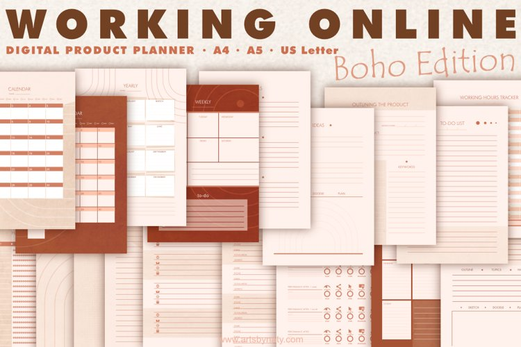 Working online | Digital product planner | Boho Edition.