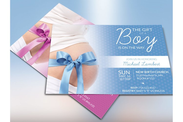 Baby Shower Invitation Photoshop Template example 1