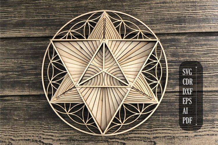 Layered mandala merkaba flower of life, 3d mandala svg,