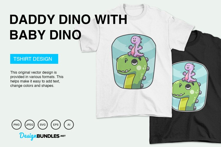 Daddy Dino Carries Baby Dino Vector Illustration For T-Shirt example image 1