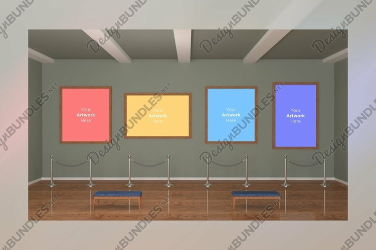 Art Gallery four Frames Mockup 3D example image 1