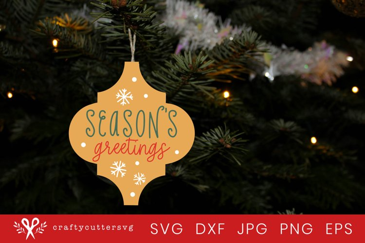 Arabesque Christmas Ornament Svg   Seasons Greetings Svg example image 1