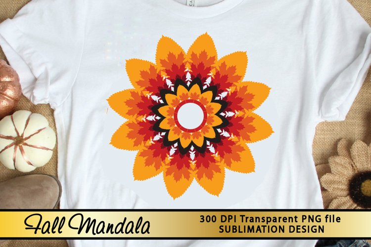 Fall Sublimation Design Fall Mandala PNG for Sublimation example image 1