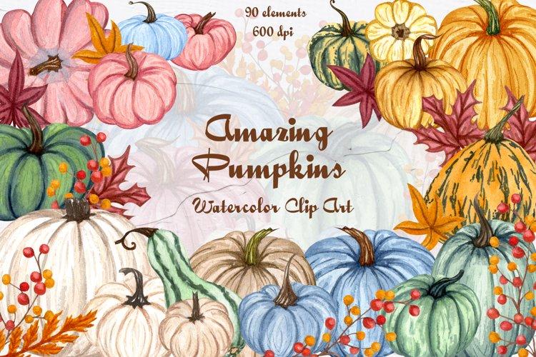 Amazing Pumpkins Watercolor Set example image 1