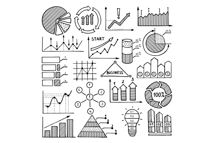 Business illustrations of charts, graphics and other differe example image 1