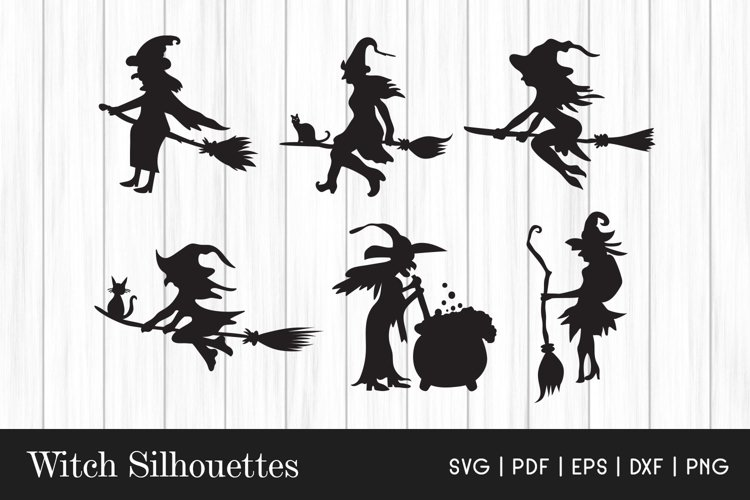 Witch SVG - Halloween Witch SVG - Witch Silhouette Cliparts example image 1