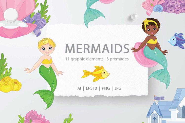 Mermaids clipart set -Beautiful Mermaid Underwater world