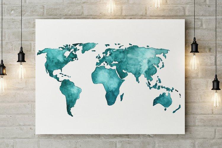 Watercolor World Map World Map Print World Map Poster
