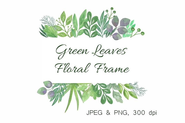 Green leaves clipart, floral frame