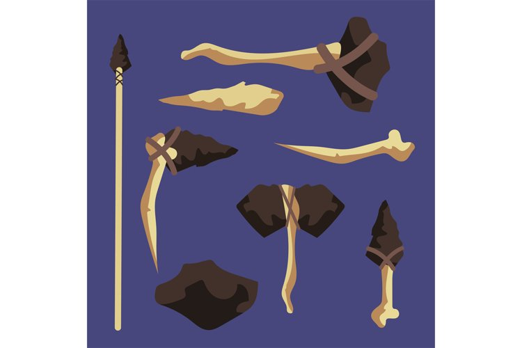Wood, bone, stone ancient tools vector illustration example image 1