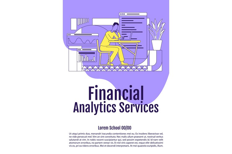 Financial analytics services poster flat vector template example image 1