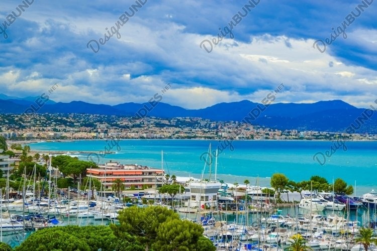 Landscape of the beautiful Marina Baie des Anges in France.