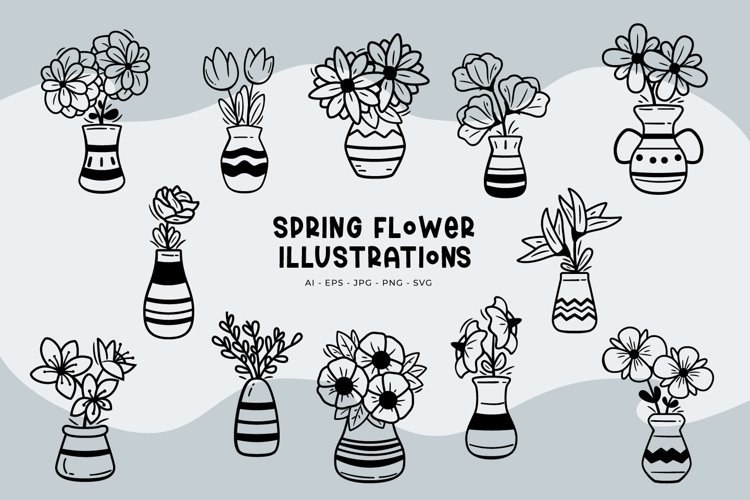 Spring Flower Illustrations example image 1