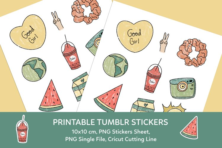 Aesthetic Tumblr Printable Stickers Sheet example image 1
