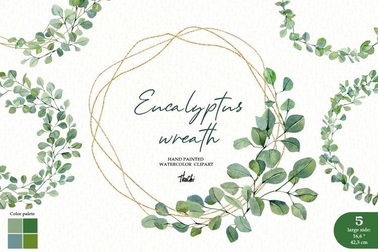 Watercolor eucalyptus wreath clipart. Greenery frame png example image 1