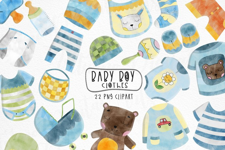 Watercolor Baby Boy Clothes clipart. Set of 22 children png