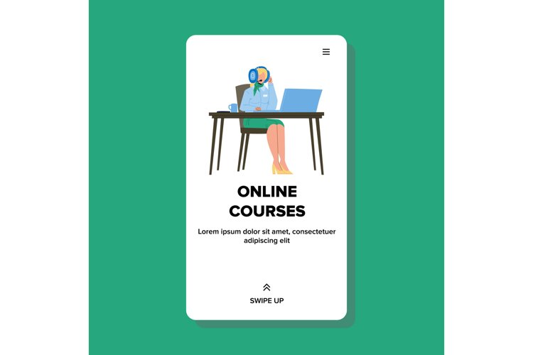 Woman Watching Online Courses Education Vector example image 1