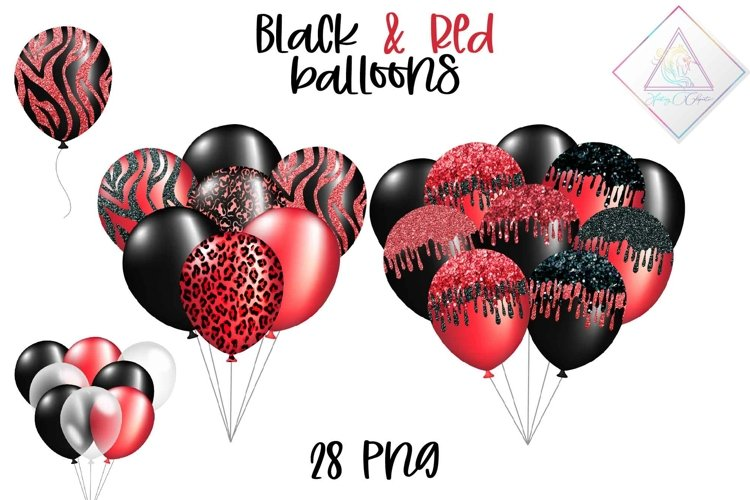 Black & Red Balloons Clipart