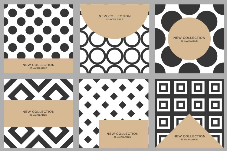 Set 6 Abstract Luxury geometric pattern cover design poster