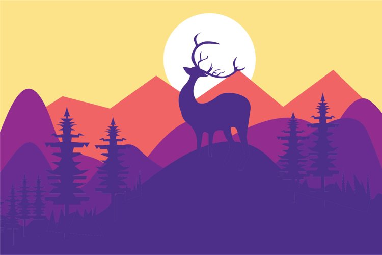 deer and landscape vector illustration example image 1
