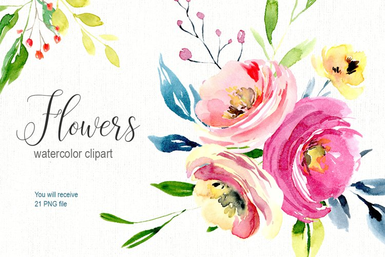 Watercolor bright flowers collection 21 PNG example image 1