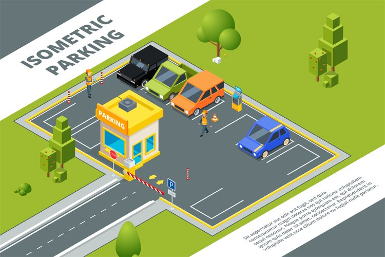 Isometric illustrations of urban paid parking with various c