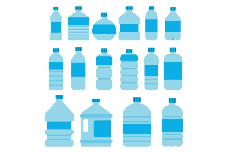 Illustrations of empty plastic bottles in flat style example image 1