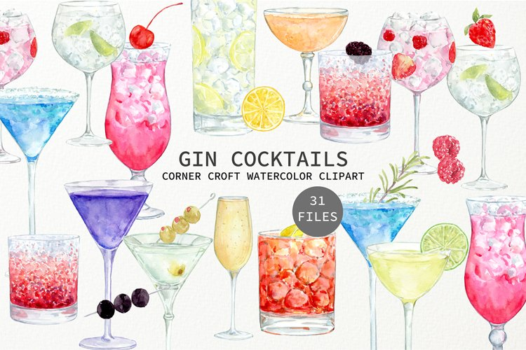 Watercolor Gin Cocktail Illustration and Prints example image 1