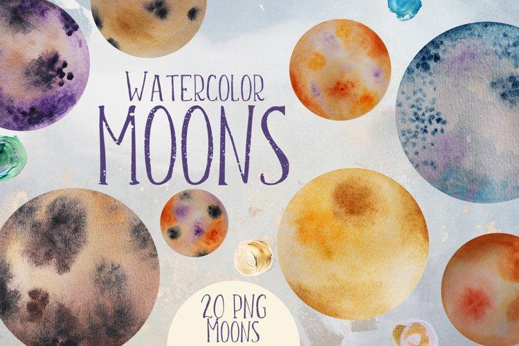 Watercolor Moons Clip Art example image 1