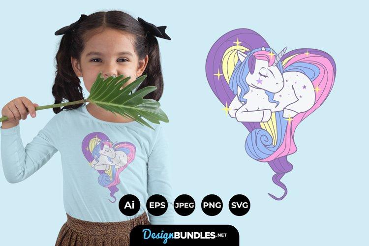 Heart of Rainbow Unicorn Hair for Kids T-Shirt Design example image 1