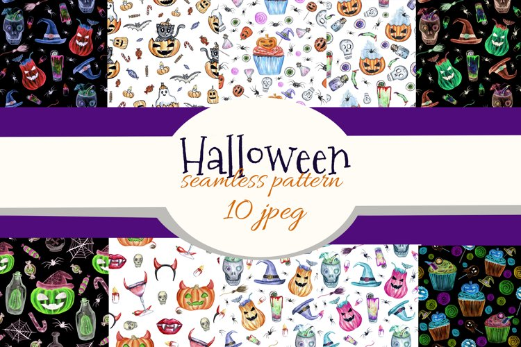 Halloween party seamless patterns. Watercolor Halloween art example image 1