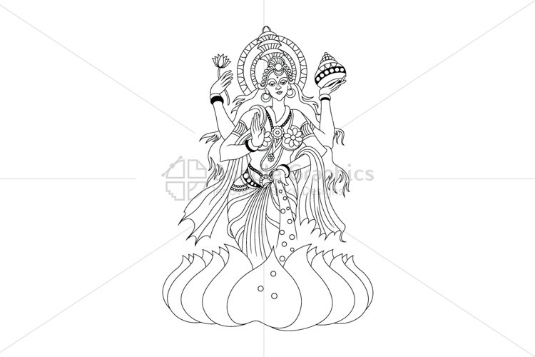 Hindu Goddess Lakshmi - Illustration example image 1
