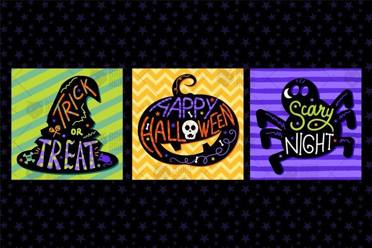 Happy Halloween Lettering Illustrations Set