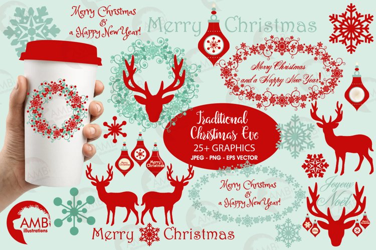 Reindeer clipart, invitation embellishments, graphics, illustrations AMB-1117 example image 1