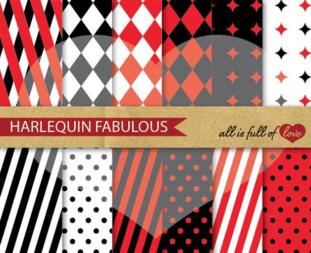 Harlequin Digital Paper Red and Black Scrapbook Background Patterns example image 1