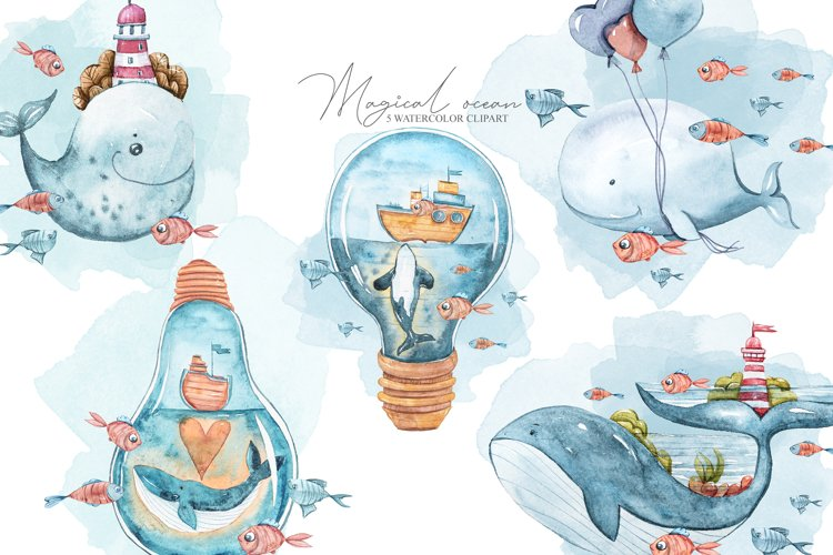 Watercolor underwater clipart. Fantasy whales collection