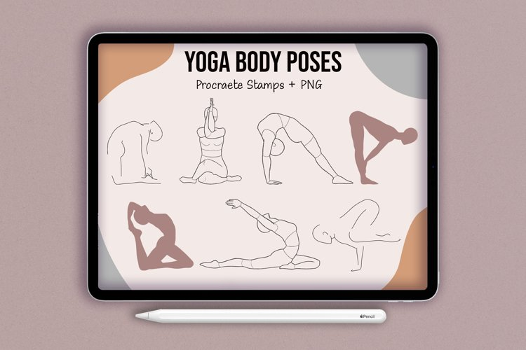 Realistic Yoga Body Poses Stamps for Procreate