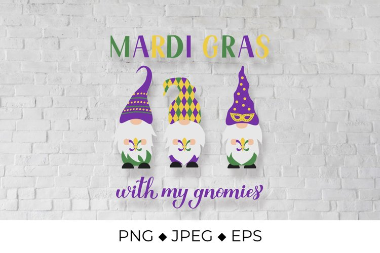 Mardi Gras with my gnomies lettering. Gnomes Sublimation example image 1